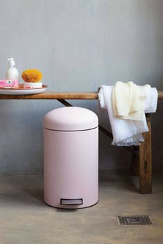 Blush pink bin from the Designed for Living range by Brabantia