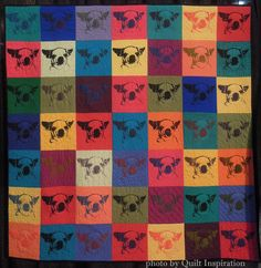 """49 Lokis (chihuahua), 50 x 50"""", by Helena Scheffer (Beaconsfield, Quebec, Canada).  Silkscreened quilt, beaded. 2013 Houston IQF."""