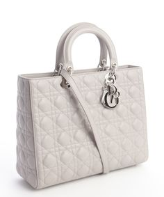 Christian Dior Grey Quilted Leather 'Large Lady Dior' Convertible Tote Bag - off, found on sale for Tote Handbags, Purses And Handbags, Tote Bags, Dior Logo, Beautiful Handbags, Cute Purses, Lady Dior, Quilted Leather, Bag Sale
