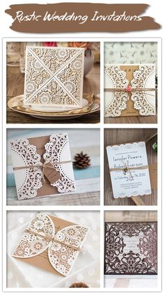 Rustic Themed Laser Cut Wedding Invitations for Country Wedding ideas