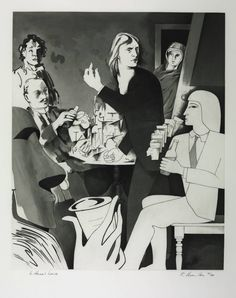"""In Horne's House"", Richard Hamilton, 1981-2. The first of the prints illustrating Joyce's ""Ulysses"". Etching, engraving, aquatint, burnishing on paper. Emphasis on multiple styles of rendering the figures."