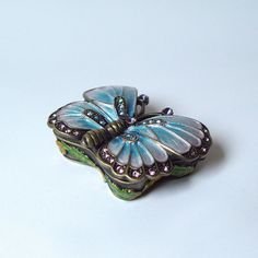 Blue 3d Butterfly Shaped Box Swarovski Crystals Jewelry, Trinket or Pill Box figurine