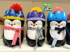 Penguin crafts are great to do especially during the Christmas season as penguins live in cold and snowy environments. Take a look at these cute christmas penguin crafts which give the holidays a personal touch. Pop Bottle Crafts, Plastic Bottle Crafts, Plastic Bottles, Empty Bottles, Plastic Pop, Bottle Art, Environmentally Friendly Gifts, Crafts For Kids, Arts And Crafts