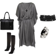 Grey dress and black accessories, created by antida1 on Polyvore