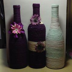 Wine bottles and yarn