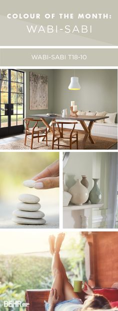Transform your home with the light green hue of Wabi-Sabi by BEHR Paint. Use natural wood and dark gray accents to create an earthy colour palette that's sure to please. Explore the rest of the BEHR 2018 Colour Trends to find the perfect shade of paint for your next DIY home makeover project.