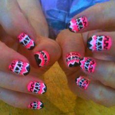 Pink Aztec nails I did!:)