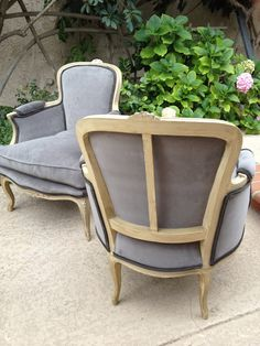 I would re-do these chairs in high gloss white and re-upholstered white fabric in parisian living room on other side of coffee table facing sofa in Paris Flat.Loft; Beautiful Pair of French Provencial Chairs