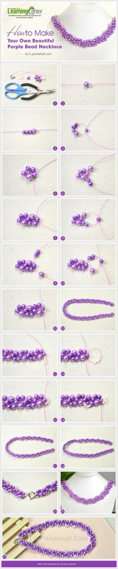 How to Make Your Own Beautiful Purple Bead Necklace by Jersica