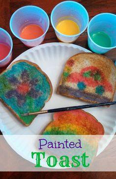 Painted Toast at - Kid Fun - babypflege Kids Cooking Activities, Kids Food Crafts, Kids Cooking Recipes, Camping Crafts, Fun Crafts For Kids, Cooking With Kids, Toddler Crafts, Preschool Crafts, Preschool Ideas