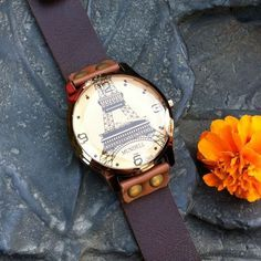Retro Eiffel Tower Brown Leather Watch only $24.9 in ByGoods.com