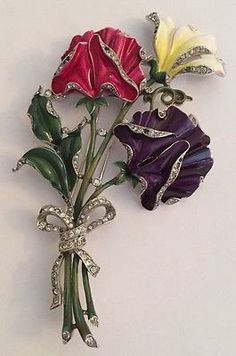 VINTAGE RARE HUGE ALFRED PHILIPPE TRIFARI RHINESTONE ENAMEL FLOWER BROOCH - PIN