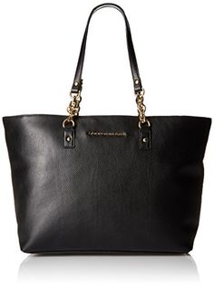 Tommy Hilfiger Eloise Leather Tote Black >>> Click image for more details.Note:It is affiliate link to Amazon.