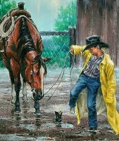 Horse in the rain, boy with cowboy boot stuck in the mud. Cowboy Art, Cowboy Pics, West Art, Art Pictures, Photos, Cow Girl, Le Far West, Country Art, Equine Art