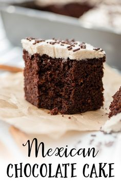 This Mexican chocolate cake is the richest most moist chocolate cake youve ever had kicked up with a little cinnamon and a hint of cayenne pepper! Easy to make as a sheet cake with cinnamon frosting a perfect dessert for Cinco de Mayo. Mexican Chocolate Cakes, Chocolate Recipes, Cake Chocolate, Food Cakes, Cupcake Cakes, Sweets Cake, Chile Pasilla, Brunch, Think Food