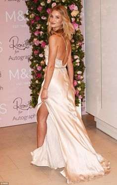 cool Rosie Huntington-Whiteley wows in backless silk nightgown