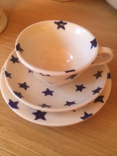 Emma Bridgewater Rare Dollies Dolly Trio Teacup Saucer Plate Starry Skies Blue