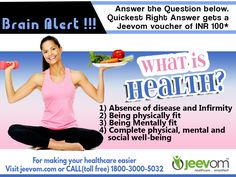 #JeevomBrainAlert: Answer the Question below. Quickest right answer gets a Jeevom voucher of INR 100*  Question: What is health?  Answer Options: 1) Absence of disease and Infirmity 2) Being physically fit 3) Being Mentally fit 4) Complete physical, mental and social well-being  #HealthQuiz