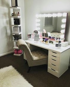Related image of vanity room ideas beautiful vanity room small bedroom vanity ideas vanity rooms elegant vanity rooms Bedroom Vanity Ikea, Ikea Vanity, Makeup Table Vanity, Vanity Room, Makeup Desk, Vanity Ideas, Makeup Vanities, Makeup Bar, Ikea Makeup