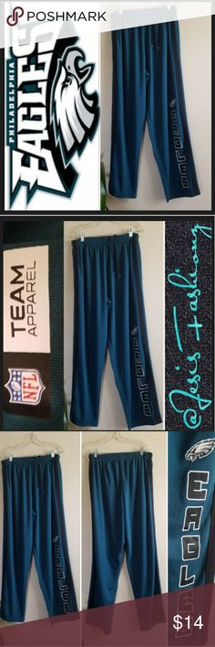 NFL Eagles XL Warm-up/Jog Pants Be comfy while showing your team spirit! Great Condition size XL 100% Polyester Warm-up/Jog Pants w/Tie Waist & Eagles name & logo down right leg. Midnight Green, Black, White. 25% OFF BUNDLES OF 3 OR MORE ITEMS. BUY WITH CONFIDENCE~SUGGESTED USER, TOP 10% SELLER, FAST SHIPPING & 5 STAR RATING! NFL Team Apparrel Pants Sweatpants & Joggers