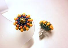 SUNFLOWER Tiny Flower Seed Beads Post Earrings by dharajewelry $20.00 USD