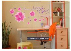 Removable Wall Sticker PINK Flowers Butterflies Wall Sticker - Flower Wall Stickers  #love #pinkflower #pink #wallsticker #flowerwallsticker #design #interiordesign #flower Home Decor Decals, Wall Sticker, Flower Wall Stickers, Pink Flowers, Wall, Home Decor, Pink, Removable Wall Stickers, Interior Design