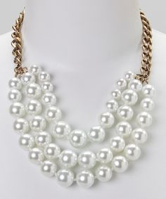 Brass & Pearl Triple-Strand Bib Necklace | zulily