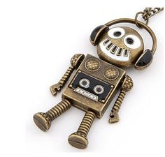 Vintage Bronze Long Pendants Robot Statement Choker Necklace Women Men Fashion
