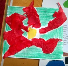 Get that aggression out and make these super easy, cute and fun Tissue Paper Pointsettias. You need a green crayon, yellow paper, red tissue...