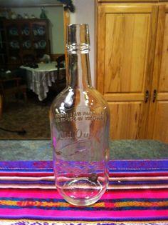 """LARGE Old Quaker Whiskey Glass Bottle Embossed 11"""" Tall Quart"""