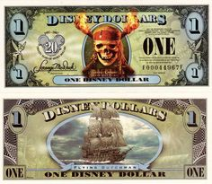"2007 ""E"" series. Skull is in color, with scarlet bandana with flaming torches. Clean, New, Crisp, Uncirculated. Disney Play, Disney Dream, Disney Fun, Disney Girls, Disney Stuff, Retro Disney, Vintage Disney, Printable Play Money, Happy Birthday Disney"