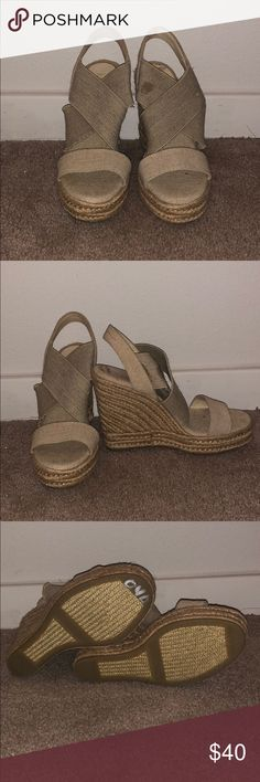 Ralph Lauren Wedges Never worn.  Has a stain that can be removed Lauren Ralph Lauren Shoes Wedges