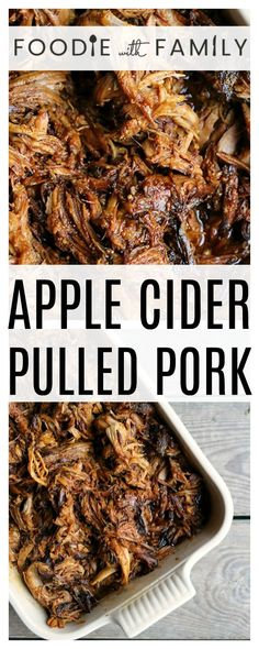 Slow-Cooker Apple Cider Pulled Pork is succulent, tender, delicious, and oh-so-easy to make in your slow-cooker. Grab a jug of apple cider and a pork shoulder, and be ready to be impressed! via Foodie Bone In Pork Shoulder Recipe, Pork Shoulder Oven, Slow Cooked Pork Shoulder, Crockpot Pork Shoulder Recipes, Crockpot Recipes, Pulled Pork Shoulder, Venison Recipes, Cooker Recipes, Pulled Pork Oven