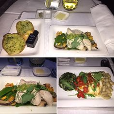 Air New Zealand Business Premier Dinner Service: Starter of Poached Chicken & Mushroom Salad; Fresh Garlic Bread; Main of Cod with Fennel & Spinach Confit