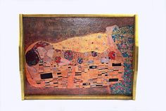 G.Klimt 'A kiss',Large decoupaged, wooden tray,serving tray,unique gift