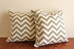 Grey chevron print throw pillows