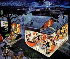 A charming mid-century vintage Halloween party illustration. #vintage #Halloween #art