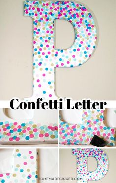 Make some DIY wall letter by decorating a letter with confetti. This is perfect for some DIY nursery decor and can be customized to fit any color scheme! Diy Crafts For Adults, Diy Arts And Crafts, Diy Craft Projects, Diy Crafts For Kids, Diy Letters, Letter A Crafts, Painted Letters, Wood Letters, Letter Wall Decor