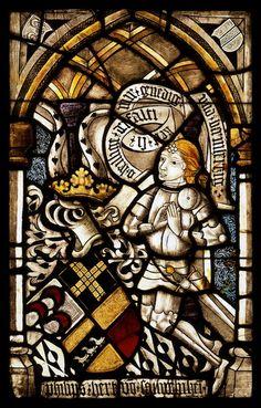 Stifter mit Wappen Hirth von Saulheim (aus Nieder-Saulheim?), Darmstadt (Hessen), Hessisches Landesmuseum, um 1470/80.