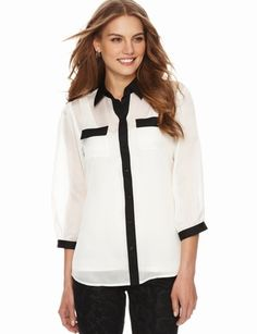 The Limited - Colorblock Soft Blouse. Love the style of this shirt. It is classic and Chanel(esque) as well as featuring the collar trend. You can never go wrong with a classic! ccaguda@aol.com #TheLimitedNewShirtEvent