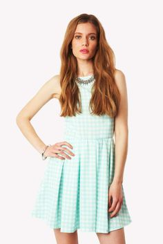Lashay Gingham Sleeveless Skater Dress in Mint at Fashion Union