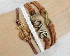 infinite lover&anchor bracelet  mens womens by lifesunshine, $8.99