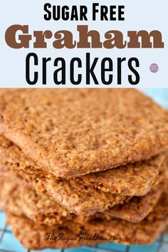 This delicious recipe for how to make Sugar Free Graham Crackers has options for keto or low in carbs graham crackers is also usable in other recipes. Graham Cracker Dessert, Graham Cracker Recipes, Homemade Graham Crackers, Chocolate Graham Crackers, Sugar Free Deserts, Sugar Free Sweets, Sugar Free Recipes, Baking Recipes, Dessert Recipes