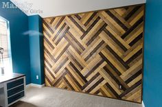 WOW!!! DIY herringbone wood paneled wall using pre-cut pine tongue-&-groove paneling stained 3 different colors