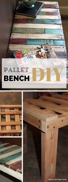 DIY Projects - The design starts with a regular pallet which is cut in half lengthwise using a jigsaw, thus leaving just the center board.