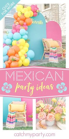 Feast your eyes on this fabulous Mexican Fiesta! The colorful balloon garland is amazing! See more party ideas and share yours at CatchMyParty.com 40th Party Ideas, 21st Party, Mexican Birthday, Mexican Party, Summer Birthday, 50th Birthday Party, Party Centerpieces, Party Favors, Baptism Party