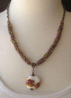 Kumihimo Necklace Beaded Copper by GirlBurkeStudios on Etsy, $35.00