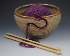 Yarn Bowl for Knitting or Crochet - In Stock, Ready to Ship- Handmade Pottery in our Earthy Brown Glaze on Etsy, $36.00