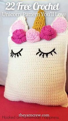 Crochet Unicorn Blanket, Crochet Unicorn Pattern Free, Unicorn Pillow, Crochet Pillow Pattern, Afghan Crochet Patterns, Free Crochet, Crocheting Patterns, Crochet Basics, Crochet For Kids
