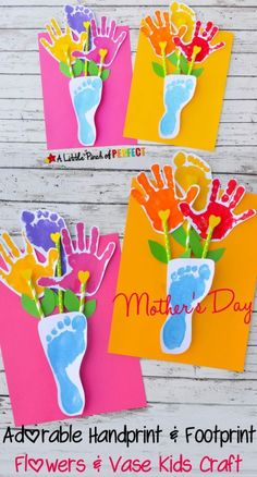 How adorable are these hand and footprint vases  for mom? More Mother's Day Crafts for Kids: Preschool, Elementary and More on Frugal Coupon Living!